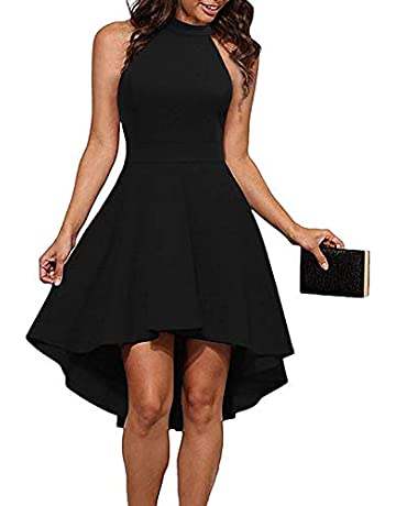 87640ce3f THANTH Womens Dresses Halter Neck Sleeveless Backless High Low Cocktail  Skater Dress