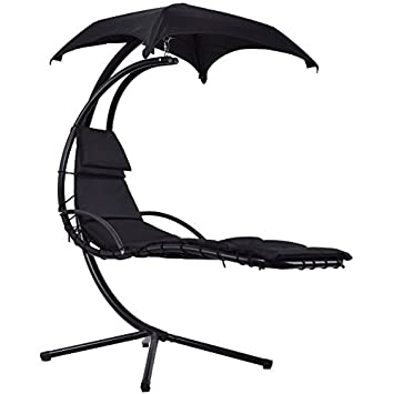 amazon com black hanging chaise lounge chair arc stand hammock