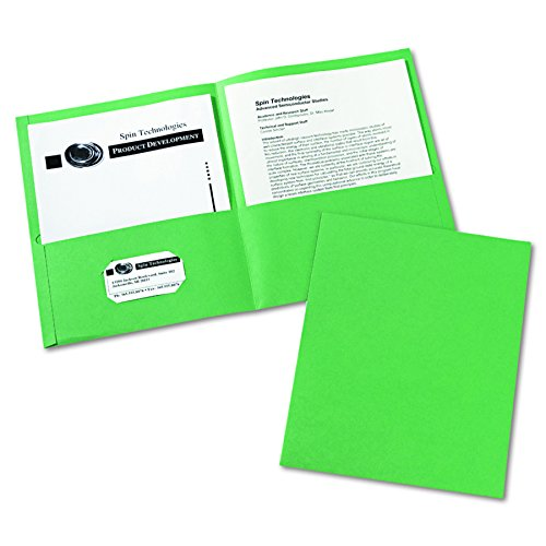 25 Green (Avery Two-Pocket Folders, Green, Box of 25 (47987))