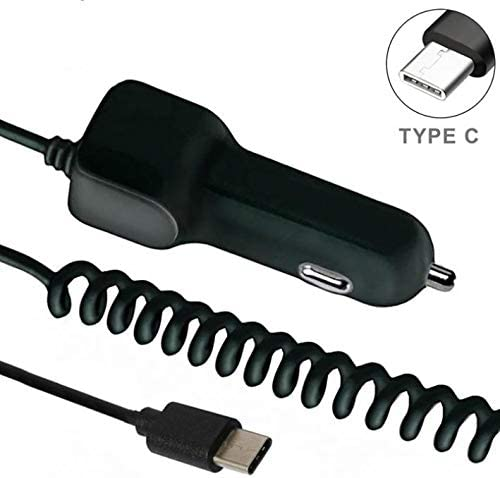 Compatible with Samsung Galaxy S8 Samsung Galaxy S9 Samsung Galaxy S8 Active Samsung Galaxy S8+ 3.1A Type-C Car Charger DC Socket with USB Port USB-C Plug Black Coiled Cable