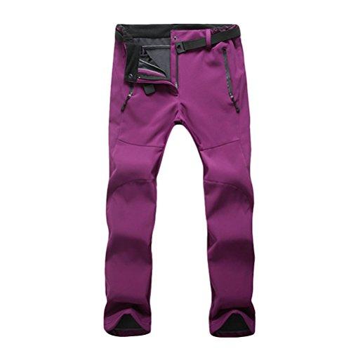 Zhhlaixing Outdoor Women's Fleece Soft Shell Warm Riding Skiing Climbing Hiking Pants Dark Purple
