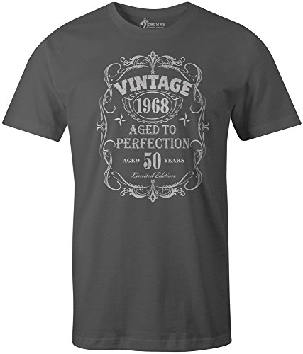 9 Crowns Tees Men's Vintage 1968 Aged To Perfection 50th Birthday T-Shirt-Heavy Metal-XL