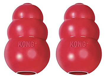 KONG Classic Dog Toy, Durable Natural Rubber- Fun to Chew, Chase & Fetch- for Large Dogs … (2 Pack)