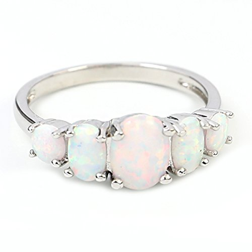 FC JORY Rose & White Gold Plated Oval Created Opal Band Crystal Ring