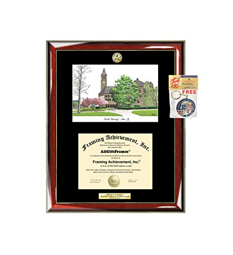 AllGiftFrames Cornell University Graduation Campus Image Sketch School Lithograph Major Logo Diploma Degree Display Engraved Graduate Idea Him Her Seal ()