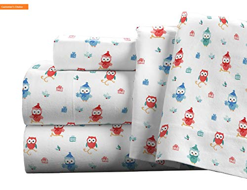 Mikash New Soft Flannel Deep Pocket Set with Oversized Flat Sheet Full Owl | Style 84599569