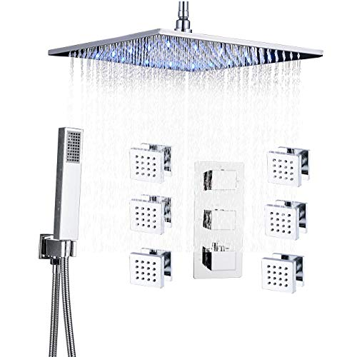 Rozin Ceiling Mounted 16-inch LED Rainfall Shower Faucet Set Massage Body Jets with Hand Spray Chrome Finish