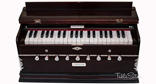 Harmonium Musical Instrument, Maharaja Musicals, In USA, 9 Stops, 3 1/2 Octave, Double Reed, Coupler, Dark Mahogany, Standard, Book, Padded Bag, A440 Tuned, Harmonium Indian Sangeeta (PDI-DC) by Maharaja Musicals