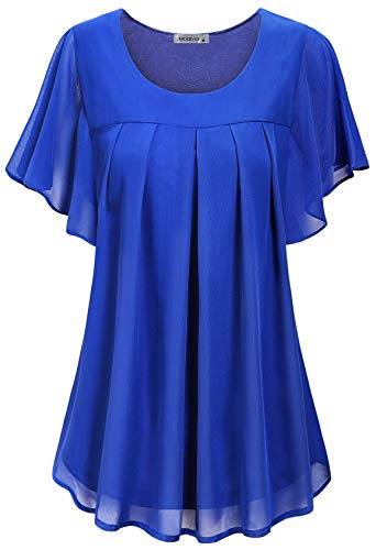 (MOQIVGI Ruched Tops for Women,Classy Trendy Ruffled Sleeve Chiffon Shirts Ladies Fancy Scoop Neck Hipster A-line Trapeze Tunic Loose Fitted Office Blouses Boutique Clothing Blue Medium)