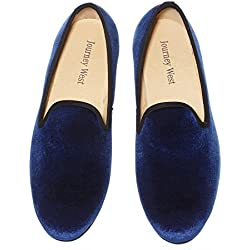 Men's Vintage Velvet Loafer Men Plain Men Shoes Slip-on Loafer Smoking Slipper US 11.5