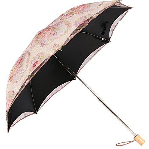 kilofly Anti-UV Embroidered Sun Protection Folding Parasol Umbrella, UPF 40+ ()