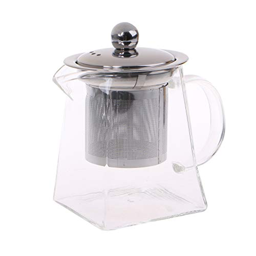 GUSENG Heat Resistant Glass Teapot With Stainless Steel Strainer Filter Infuser Tea Pot Set 350ml Clear Microwave Dishwasher - Square Steel Stainless Teapot