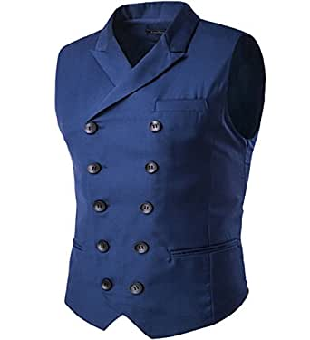 Cloudstyle Mens Vest Fashion Slim Fit Double Breasted