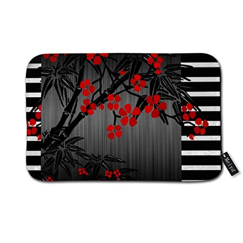 """Pillows Asian Black Red Bamboo Blossom Doormat Floor Mat with Non-Slip Backing Bath Mat Rug Funny Home Decor 23.6"""" W×15.7"""" H"""