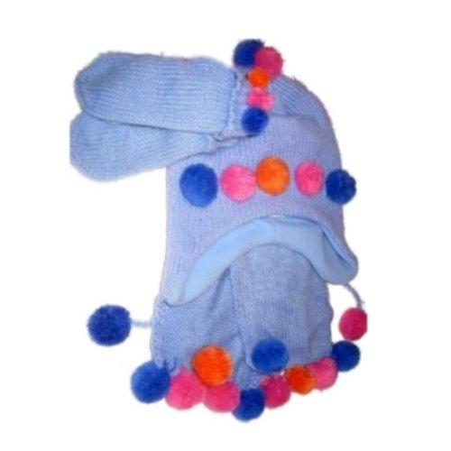 (Kid Connection Girls Blue Scarf Mittens & Hat Set Pom Pom Beanie)