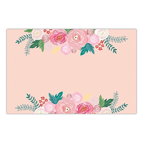 (DB Party Studio Disposable Placemats 25 Pack Easy Cleanup Anniversary Baby Bridal Shower Wine Tasting Parties Lovely Pink Flowers Brunch Luncheon Dinner Thick Paper Table Setting 17