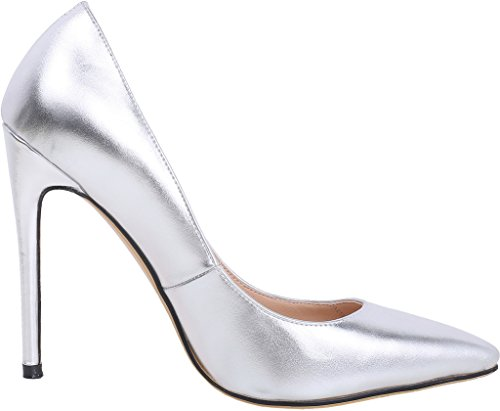 Calaier Womens 15 Colors US Size 4-15 Stiletto 12CM High Heel Dress Party Wedding Office Pumps Shoes Silver Patent 8tijxPcgIh