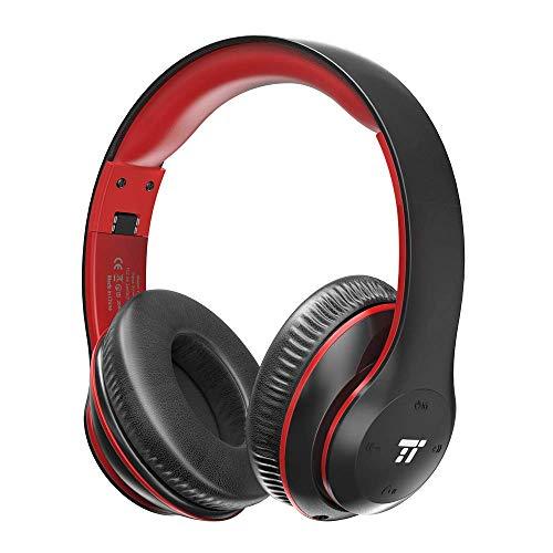 TaoTronics Wireless Headset Over Ear Headphones with Lightweight Memory Foam Ear Pads & Dual 40mm Drivers (3.5mm AUX, EQ Bass, 15 Hour Audio Playback)