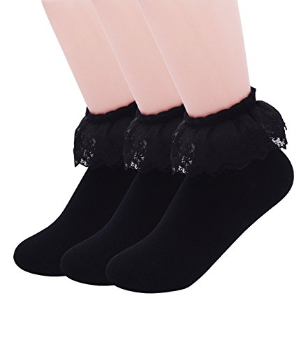 SEMOHOLLI Women Socks, Princess Socks, Lace Socks, Cotton Casual Socks Double-deck With Ruffle Frilly Lace Top (3 Pairs-Black)