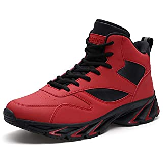 JOOMRA Mens Basketball Sneakers Street Mid Cut Walking Shoes Gym Winter Tennis Comfy High Top Teens Hitop Snikers Daily Jogging Shoes Zapatos de Hombre Red Size 7.5