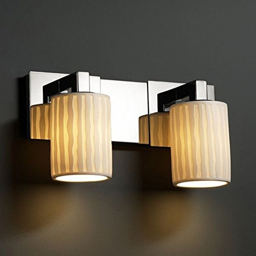 Justice Design Group Limoges 2-Light Bath Bar - Polished Chrome Finish with Waterfall Translucent Porcelain Shade by Justice Design Group Lighting