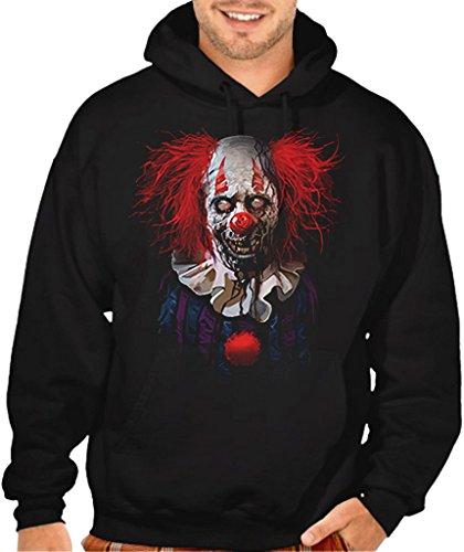 Interstate Apparel Men's Zombie Clown Black Pullover Hoodie Sweater 5X-Large Black ()