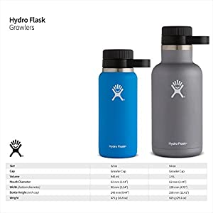 Hydro Flask 64 oz Double Wall Vacuum Insulated Stainless Steel Beer Growler, Stainless