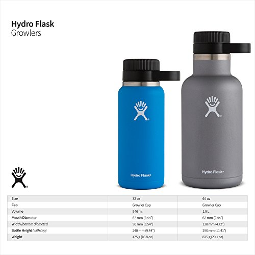 Hydro Flask 64 oz Double Wall Vacuum Insulated Stainless Steel Beer Growler, Graphite