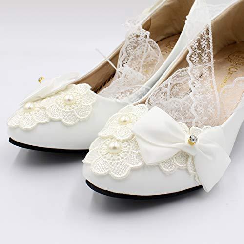 Femmes À Bh542 Escarpins Cheville De Mariage Seraph Lacets Talon Dentelle Moyen La Chaussures Blanc À Demoiselle D'honneur B54qdn6w