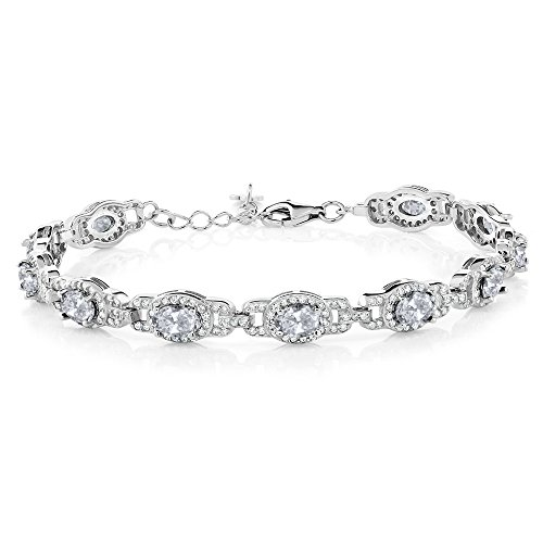 - Gem Stone King 9.65 Ct Oval White Topaz 925 Sterling Silver 7 Inch Bracelet With 1 Inch Extender