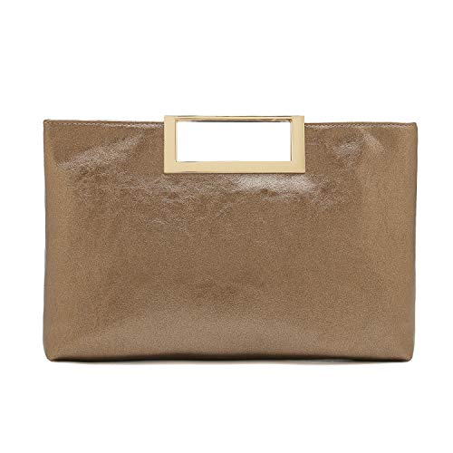 Charming Tailor Fashion PU Leather Handbag Stylish Women Convertible Clutch Purse (Bronze)
