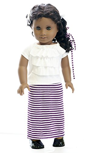 american-doll-clothes-girl-18-maxi-skirt-purple-and-white-striped-with-white-ruffle-shirt-and-hair-t