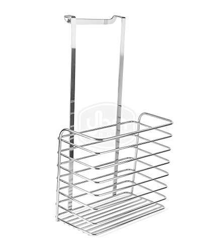 Ybmhome Over the Door Storage Basket, Kitchen Cabinet, Bathroom Shower Organization for Aluminum Foil, Sandwich Bags, Cleaning Supplies Chrome 2217 (1)