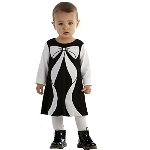 Biscotti Baby - Girl's Infant Colorblocked Bow Perfection Dress, Black/Ivory - Size 24M ()
