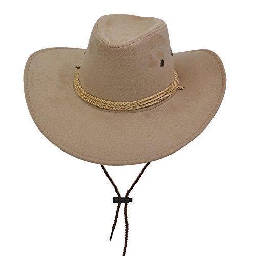 Yosang Adult Western Suede Hat Cowboy Outdoorsman Hat Travelling Summer Cap Khaki