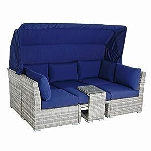 Azuma Patio Day Bed 3 Seater Sofa Grey
