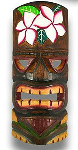 HAND CARVED HIBISCUS FLOWER POLYNESIAN HAWAIIAN TIKI STYLE MASK 12 IN TALL