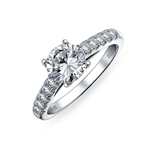 Sterling Silver CZ Pave Round Cut Solitaire Engagement Ring