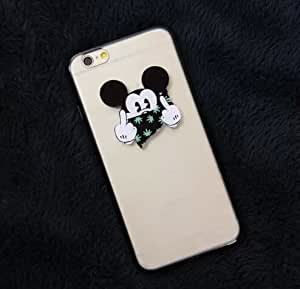 2015 Unique Cute Cartoon Mickey Mouse Contempt Gesture Pattern 3D Transparent TPU Silicon Back Case Cover for IPhone 6 4.7''