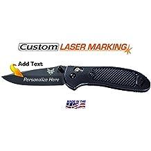 Custom Laser Engraved Benchmade Griptilian Knife - Black (551BK)