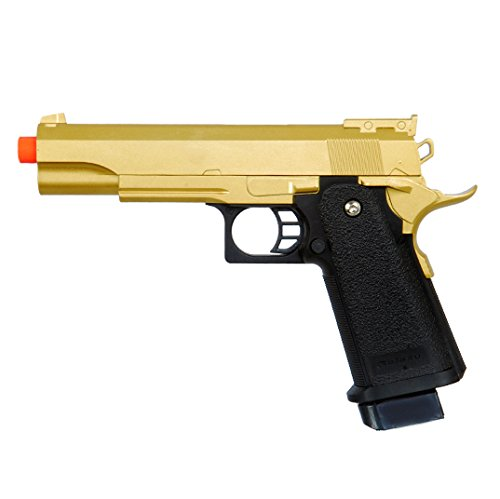 bbtac airsoft pistol bt-g1911 golden 1911 airsoft spring powered pistol gun, zinc alloy construction, aim sights, 300+ fps, with bbtac warranty & tech support(Airsoft Gun)