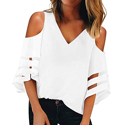 Pongfunsy Women Loose T Shirt Women Fashion Button V Neck 3/4 Bell Sleeve Top Teen Girls Loose Mesh Panel Blouse White
