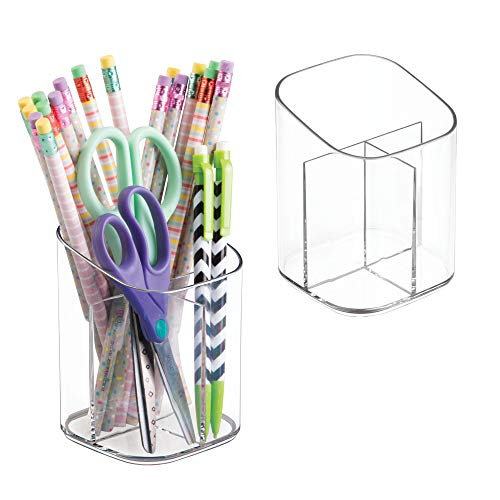 mDesign Plastic Pencil Cups Desk Organizer Holder and Home Office Supply Storage Cup - Pack of 2, Clear