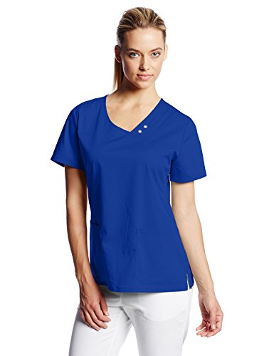 Cherokee Women's Luxe Crossover V-Neck Pin-Tuck Top, Galaxy Blue Small