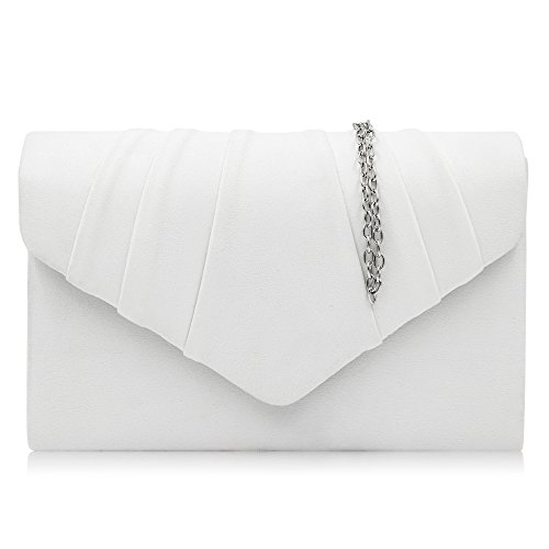 Satin Clutch White - Milisente Women Evening Bag Velvet Pleated Clutch Purse Envelope Clutches (White)