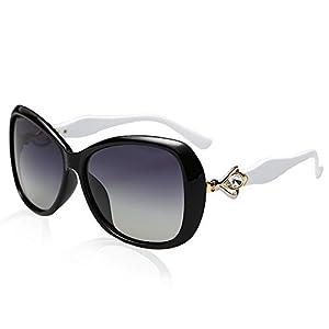 BVAGSS Polarized Sunglasses Women Vintage Oversized Sun Glass WS047 (Black White)