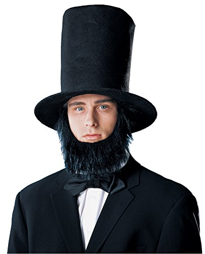 Lincoln Costumes (Costume Culture Men's Abraham Lincoln Hat with Beard, Black, Standard)