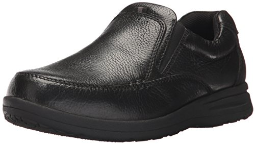Nunn Bush Men's Cam Moc Toe Slip On Casual Lightweight Comfortable Loafer with Comfort Gel and Memory Foam, Black Tumbled, 9 Wide