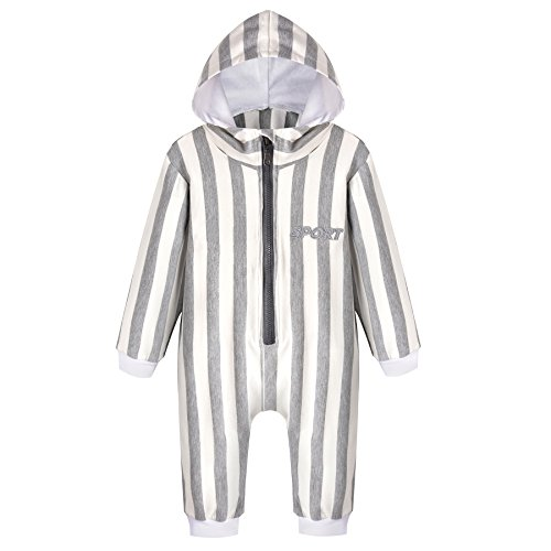 Unisex Baby Sport Jumpsuit Romper with Hoodie Hat & Striped Outfit for Boy - Alabama Polo Outlet