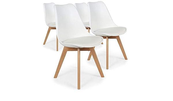 Menzzo España Pack de 4 sillas nórdicas Bovary Blanco Roto en PVC Asiento en PU (Blanco): Amazon.es: Hogar
